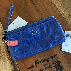 Coach, cobalt blue, zippered clutch/wallet, NWT